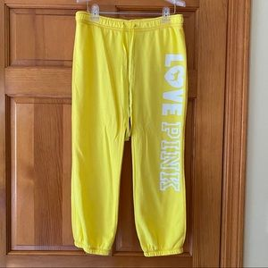 PINK Yellow Cropped Sweatpants NWT